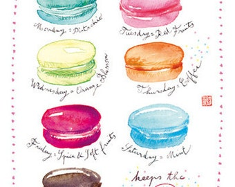 Kitchen decor, Macaron print, French Home decor, Pastel kitchen wall decor, 8X10 print, Macaroon poster, Food art, Wall art Watercolor print