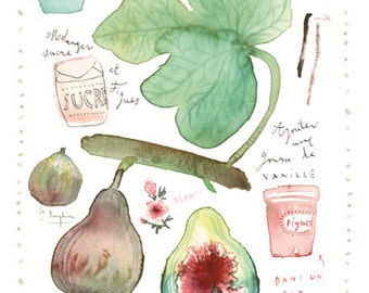 Fig marmalade recipe print, Botanical poster, Food art, Kitchen decor, Summer fruit, 8X10 Watercolor painting, Green, Purple