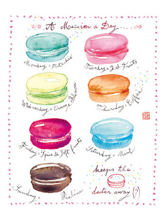 Kitchen art print poster, A macaron a day, 8X10, Watercolor macaroon illustration, food art, French pastel Home decor