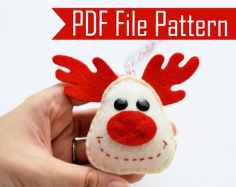 Holiday Reindeer Christmas Ornament  Sewing pattern - PDF ePATTERN  Instant Download A657