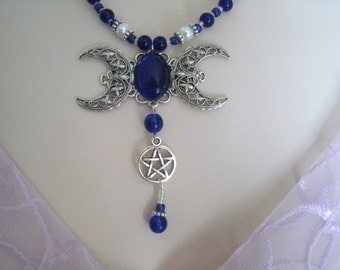 Triple Moon Goddess Pentacle Necklace, wiccan jewelry pagan jewelry wicca jewelry goddess jewelry pentagram witch witchcraft metaphysical