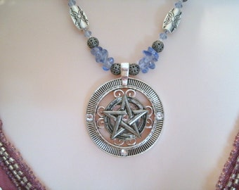 Morning Sky Pentacle Necklace, wiccan jewelry pagan jewelry wicca jewelry witch witchcraft magic metaphysical pentagram goddess necklace