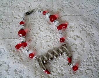 Vampire Fangs Bracelet, vampire jewelry gothic jewelry goth jewelry fantasy jewelry psychobilly cosplay rockabilly halloween bracelet
