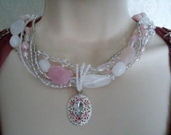 Pink Multi-Strand Necklace, boho jewelry bohemian jewelry gypsy jewelry hippie rockabilly pin up moroccan new age boho chic necklace