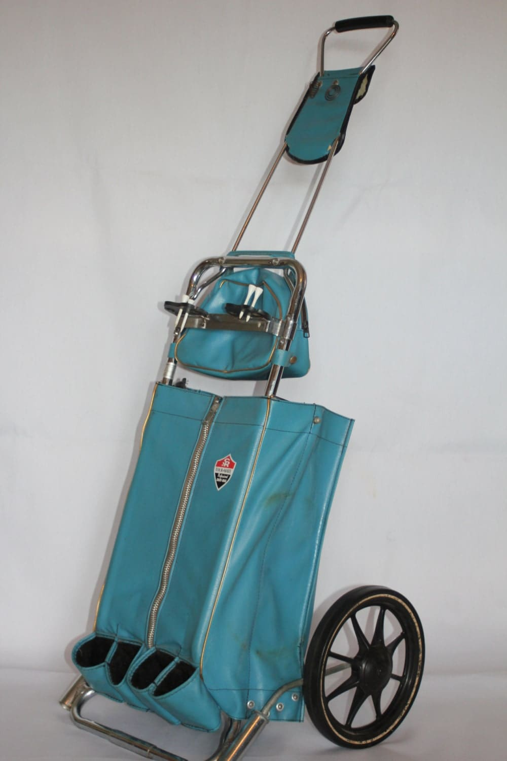 Vintage Golf Bag Pull Cart Turquoise