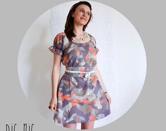 Womens dress lilac gray and orange cotton print