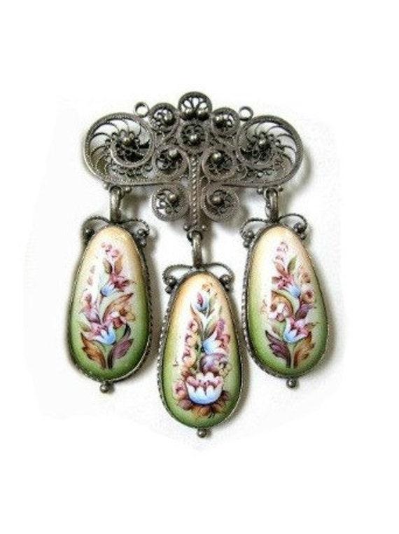 STUNNING OOAK Art Deco Nouveau Russian Hand Painted Filigree Dangling Brooch