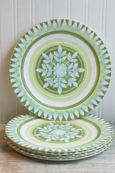 Melamine Plates Set Of 6 Vintage Melmac Green Blue Retro