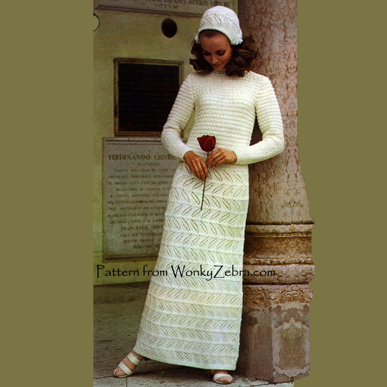 Bootie Knitting Patterns Easy : Vintage Knit Wedding Dress Knitting Pattern PDF 486 from