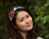 Red and white dahlia silk kanzashi headband
