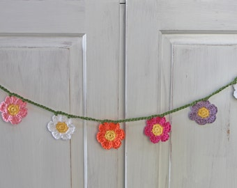 Crochet Flower Garland in Many Colors, Decor for Spring or Summer