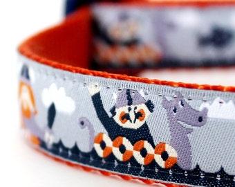 Grey Vikings Sailing Dog Collar, Adjustable Pet Collar, Boats, Fish, Nautical Pet Collar