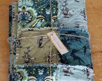 SALE Baby Boy Rag Quilt Blue and Green Prince Charming, cotton fabric - Ready to Ship