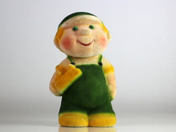 Vintage Russian flocking toy - construction worker