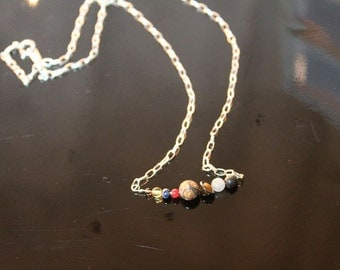 Solar System Necklace (no Pluto): gemstones on sterling silver