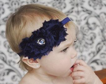 Navy Baby Headband. Navy Shabby Chic Flower Headband. Baby Hair Accessories, Baby Girls Hair Accessories, Navy Blue Headband, Christmas