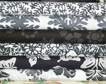 Black and Whtie Bali Woodprints Batik Fabric Hoffman Fabrics Woodprint 100% Cotton 6 Yards