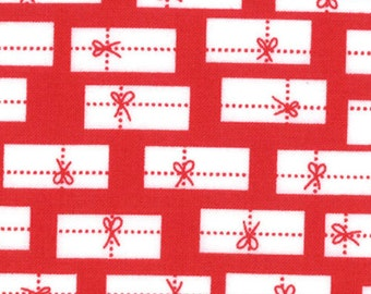 CHERRY CHRISTMAS Red and White Package Fabric by Aneela Hoey