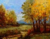 Large green yellow trees blue mountain landscape 36x60