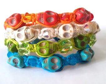 Hand woven colour hemp Howlite Skull Swarovski Crystal wrist adornment.