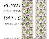 Peyote Cuff Bracelet Pattern Vol.22 - Thistle Bracelet - PDF File PATTERN