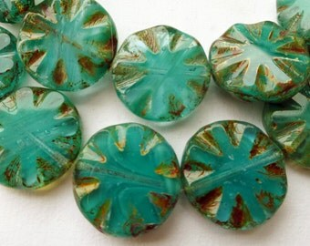 6 Czech Glass Round Wavy Disc Bead in Translucent /OpaqueTealGreen with Picasso Pressed Design