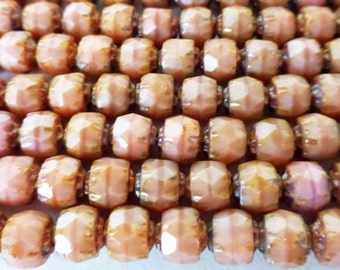 25 Opaque Peach Pink Renassance Fire Polish Cut Glass Beads