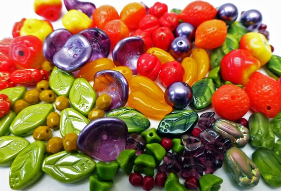 Czech Glass Carmen Miranda Bead Mix with Fruit Beads  109 Glass Beads