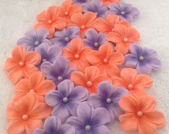 Cake Decoration Flowers Blossoms Peach and Purple