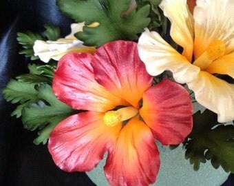 Gum Paste Hawaiian Hibiscus Cake Decorations Red Gumpaste