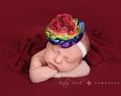 Rainbow Headband Satin Flower Bow Candyland Circus Headband Baby Girl Toddler