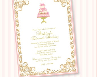 Cake Tea Party Custom Printable Party Invitation