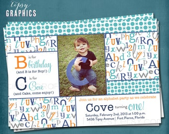 Alphabet Birthday Party ABC Photo Card Invitation.  Any colors and text by Tipsy Graphics