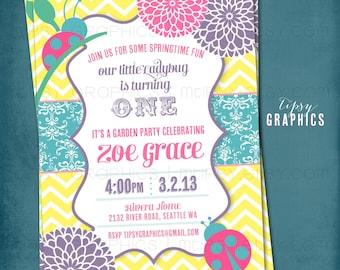 Chevron Ladybug Mum. Pink Purple Yellow Aqua Springtime Garden Birthday Party Invite by Tipsy Graphics