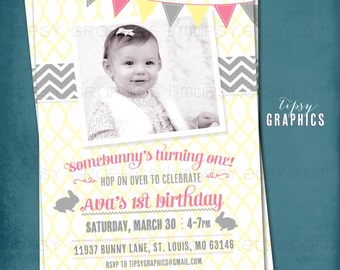 Some Bunny's Turning One. Pink Yellow Springtime Photo Invite by Tipsy Graphics
