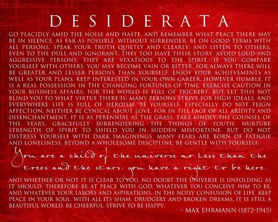 DESIDERATA 11x14 Mounted Word Art Print - red yellow blue black Motivational Max Ehrmann