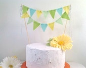 Cake Bunting Pennant Flags Cake Topper  Aqua, Lime Chartreuse Birthday, Wedding Shower