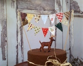 Cake Bunting 1960's Camping Trip Topper on Bakers Twine Woodland theme