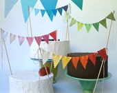 Cake Bunting Fabric Bunting Flags Cake Topper Party Decoration Birthday Banner Wedding Decoration OMBRE Pink, Blue, Red, Brown, Green