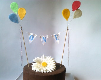 Cake Bunting Balloons Personalized age Fabric bunting single row Choose colors