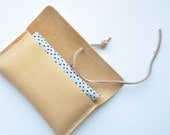 Natural tan leather pouch & medium sized cotton tote
