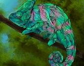 Chameleon Abstract Animal Giclee Archival Art Print
