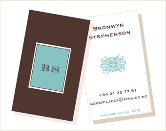 Personalized Luggage Tags Brown Aqua Decorative Motif Set of 2.