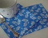 "12"" x 12"" Certified Organic Cotton Blue and White Robert Kaufman Good Life Print  Set of 2"