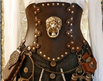 brown Steampunk Corset Brass Lion - All Sizes 'Air Kraken Assassin'  Corset belt - all sizes