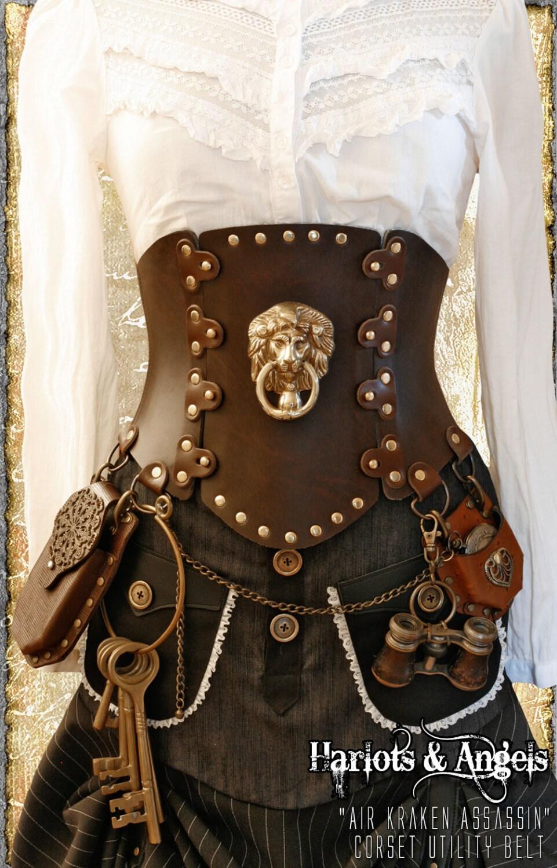 Brown steampunk corset brass lion all sizes 39 air kraken - Steampunk bett ...