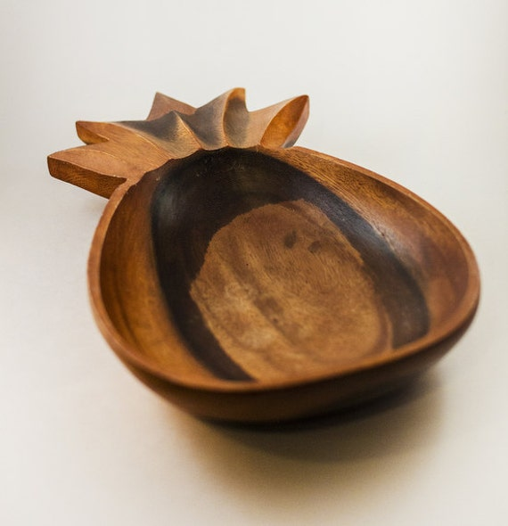 Vintage wood fruit bowl pineapple centerpiece by