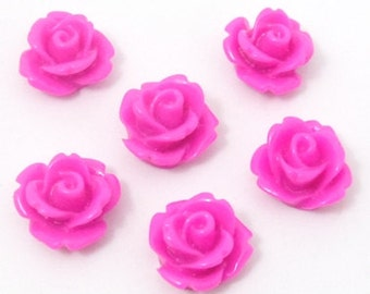 100 pink fuchsia round floral rose cabochons , 10mm