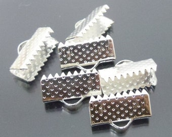 Silver plated Ribbon Pinch Crimps Cord Ends 7 X 15 mm 100 pcs.