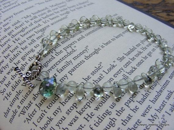 Green Amethyst Bracelet with Blue Green Mystic Quartz.